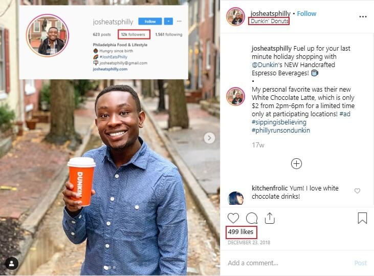micro influencer marketing campaign of dunkin donuts