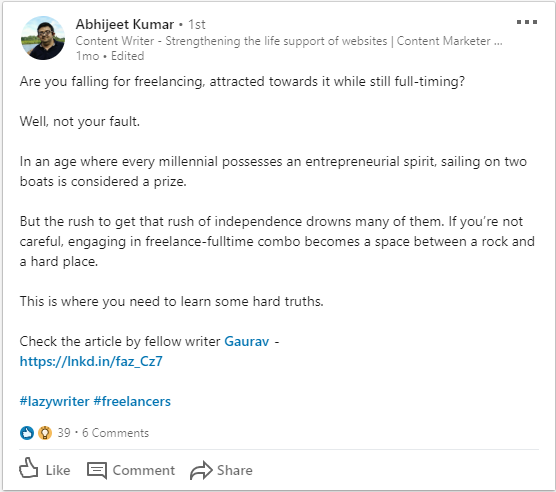storytelling on LinkedIn