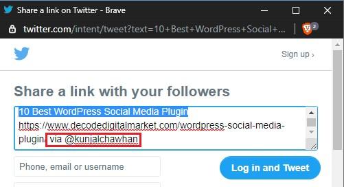 social warfare twitter share