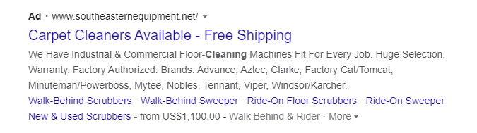 carpet cleaning search ads