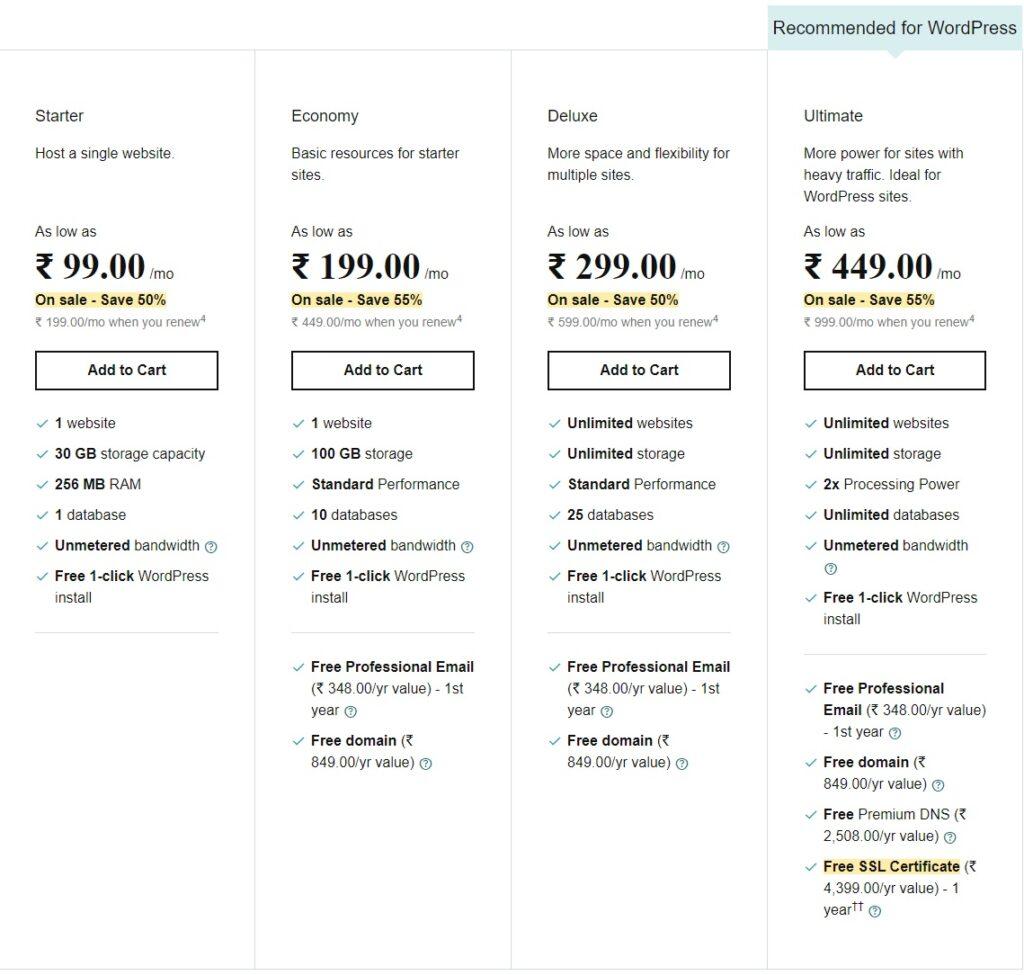 godaddy india web hosting plans