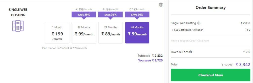 single web hosting plans