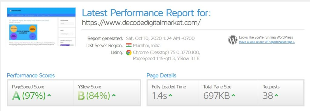 website speed performance