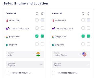 search engine keyword rank tracking setup