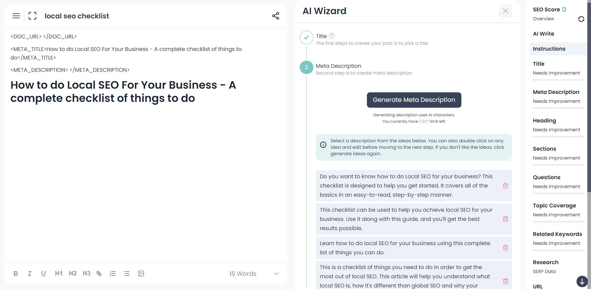 generate and optimize meta description tag